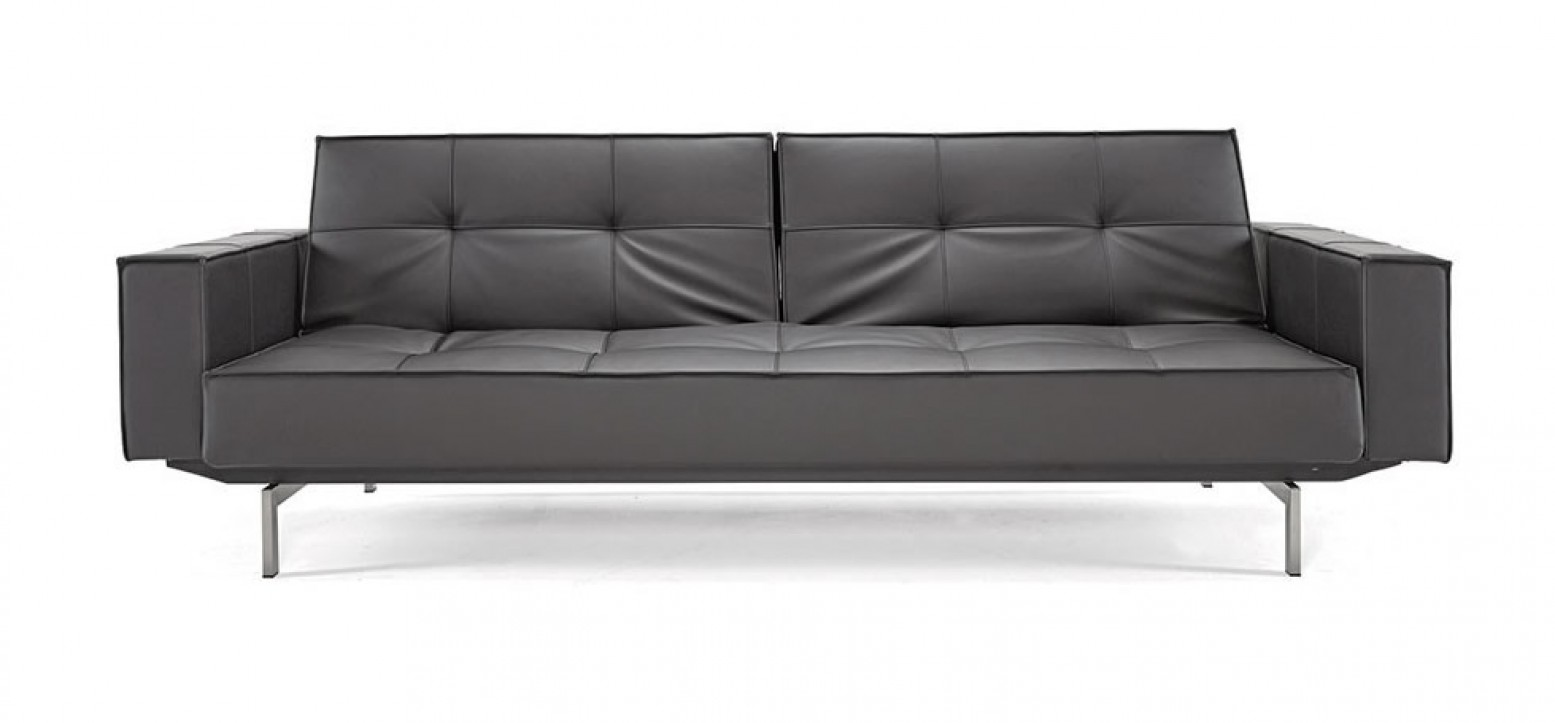 Splitback Sofa Bed w/Arms, 582 Leather Look Black PU + Stainless Steel Legs