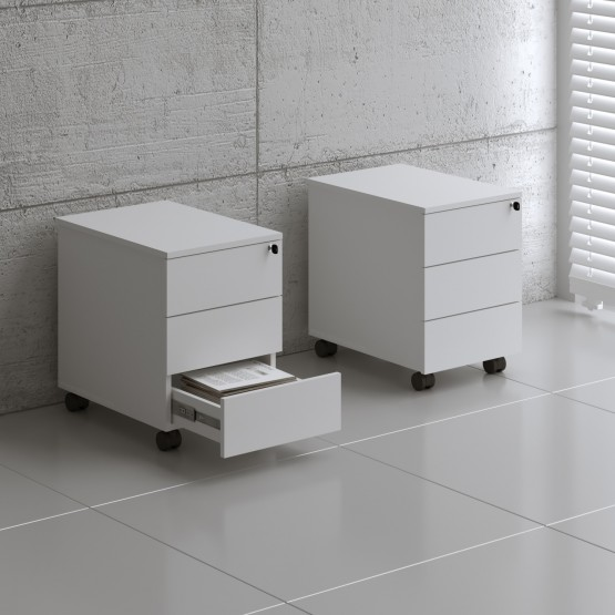 Standard SLD13 Mobile Pedestal w/3 Drawers, White photo