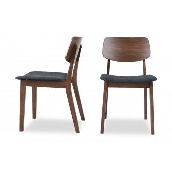 Baldwin Mid-Century Modern Dining Chair Walnut, Set of 2