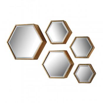 Hexagonal Mirrors - Set of 5