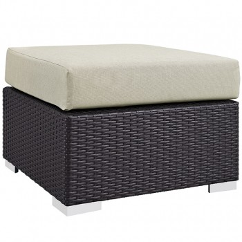 Convene Outdoor Patio Fabric Square Ottoman, Espresso, Beige by Modway