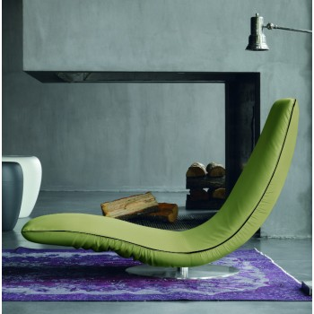 Ricciolo Chaise Lounge, Olive Green Eco-Leather