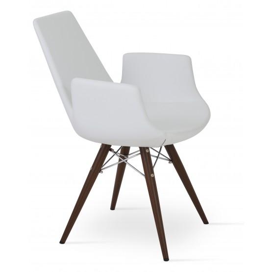 Eiffel Arm MW Plus Chair, Walnut Veneer Steel, White PPM photo