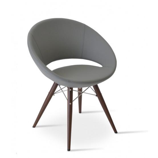 Crescent MW Plus Chair, Walnut Veneer Steel, Grey PPM, Large Seat photo