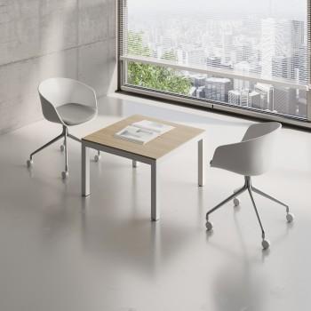 Impuls Small Table IM57, White Pastel + Canadian Oak