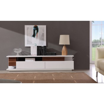 061 TV Stand, White High Gloss + Walnut by J&M Furniture