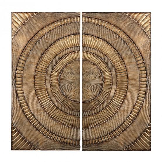 Abstract Metal Wall Panels - Set of 2 photo