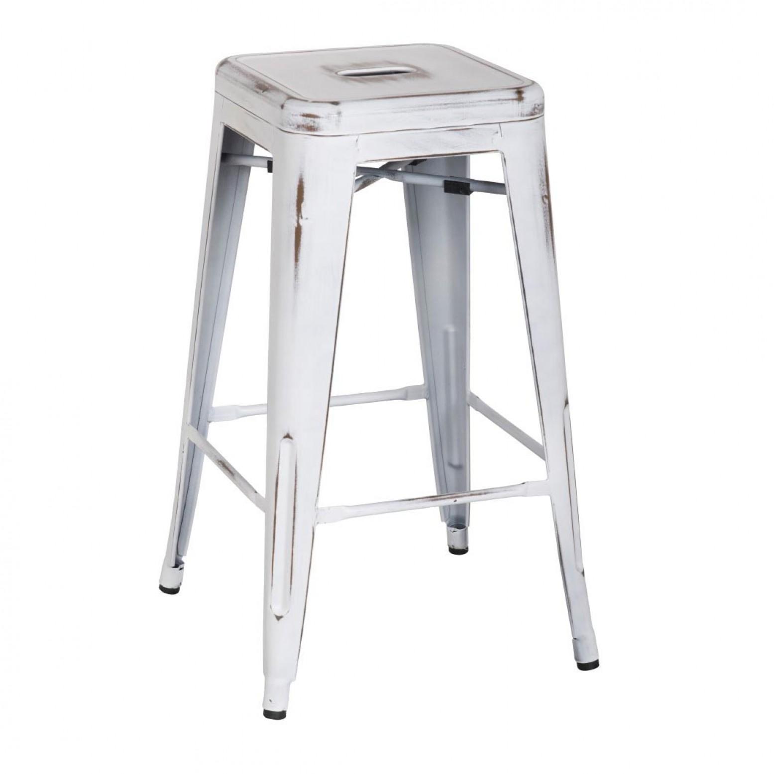 Magnificent Metropolis Metal Backless Counter Stool Distressed White Creativecarmelina Interior Chair Design Creativecarmelinacom