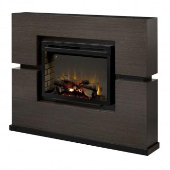 """Linwood Mantel Electric Fireplace, Rift Grey Finish, 33"""" Realogs Firebox"""