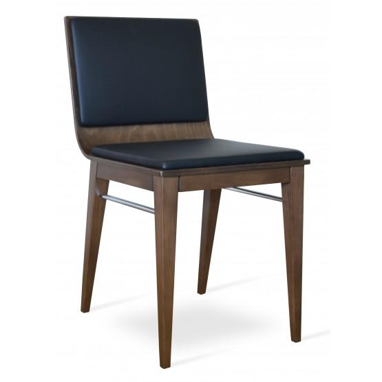 Corona Wood Dining Chair, Beech Walnut Finish, Black Leatherette, Extra Pad photo
