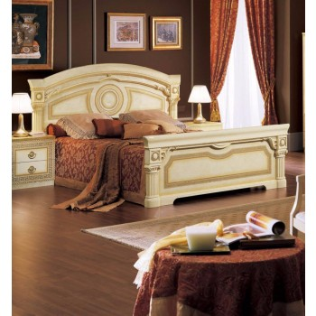 Aida Queen Size Bed, Ivory + Gold