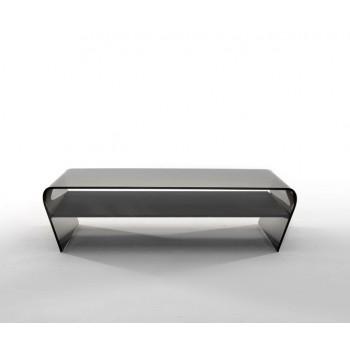 Amaranto Coffee Table with Black Glass Shelf, Grey