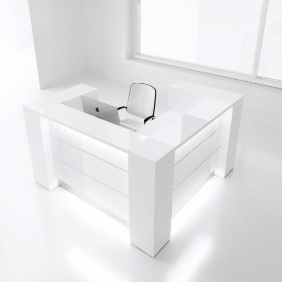 Valde LAV13L Reception Desk, High Gloss White photo
