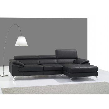 A973B Italian Leather Mini Sectional, Right Arm Chaise Facing, Black by J&M Furniture