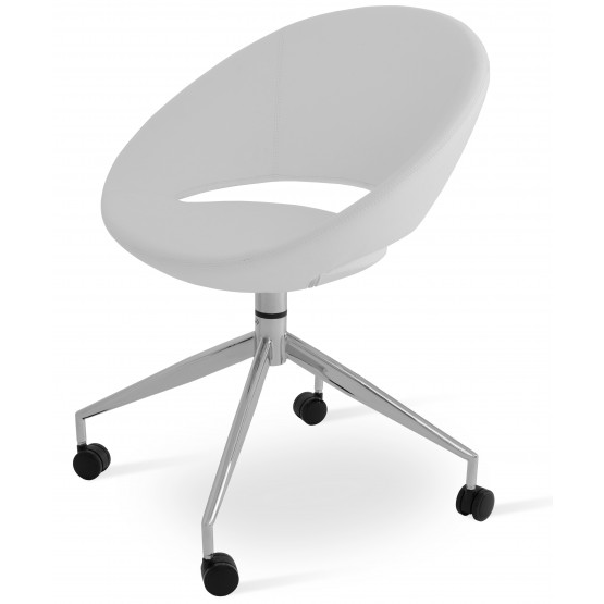 Crescent Spider Swivel Chair w/Caster, White PPM, Large Seat photo