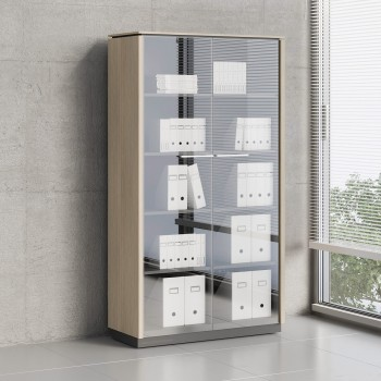 Status 2 Glass Door Storage Cabinet X55, Canadian Oak