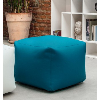 Truly Small Pouf, Night Blue Eco-Leather
