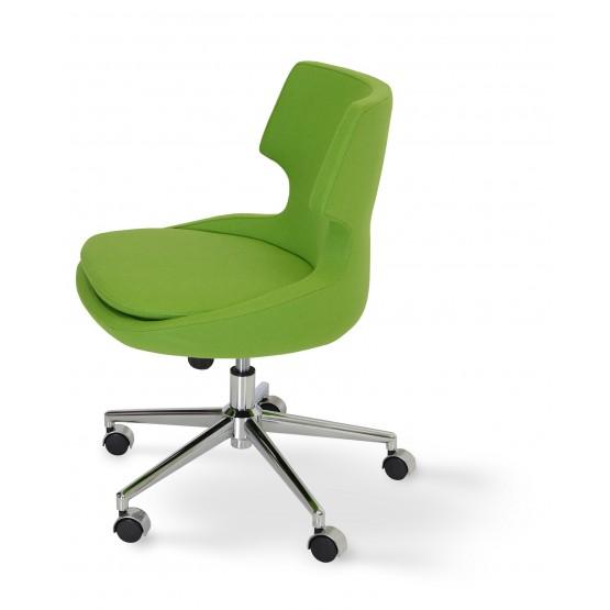 Patara Office Chair, Chrome Base, Pistachio Camira Wool photo