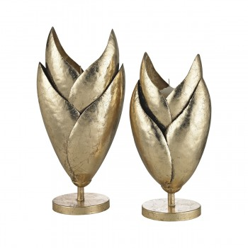 Honeychaff Candle Holders In Gold Leaf - Set Of 2