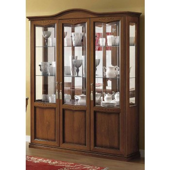 Nostalgia 3-Door Curved Vitrine, Walnut