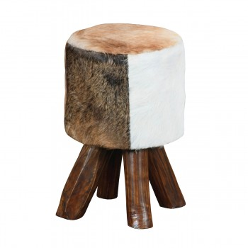 Ilford Small Round Mahogany Stool With Natural Stain Finish