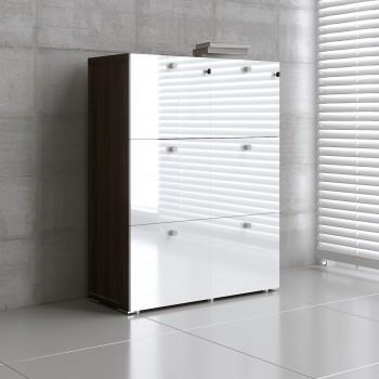 Mito 6 File Drawers Storage MIT22, Dark Sycamore + White High Gloss