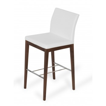 Aria Wood Bar Stool, Solid Beech Walnut Color, White PPM by SohoConcept Furniture