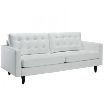 Empress Bonded Leather Sofa, White by Modway