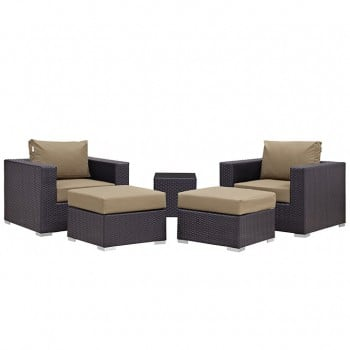 Convene 5 Piece Outdoor Patio Sectional Set, Сomposition 5, Espresso, Mocha by Modway