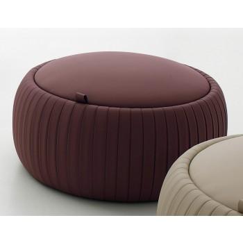 Plisse Small Pouf, Hazel Eco-Leather
