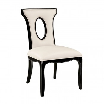 Alexis Side Chair In Black With Off White Faux Leather Fabric