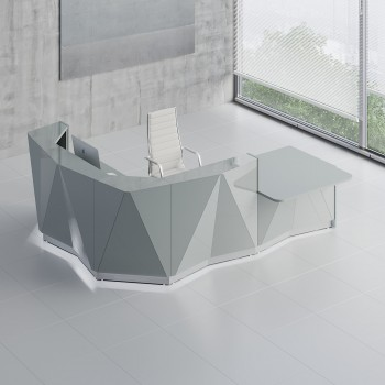 Alpa ALP23L Reception Desk, Aluminum