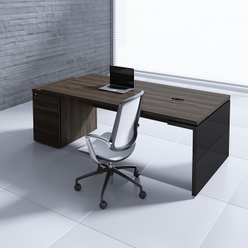 Mito Executive Desk w/Pedestal MIT4KD, Dark Sycamore + Black High Gloss