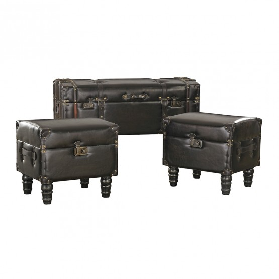 Dark Brown Faux Leather Travelers Trunk - Set of 3 photo
