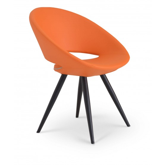 Crescent Star Chair, Black Powder Steel, Orange Leatherette photo