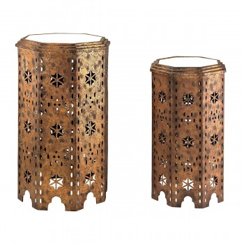 Moroccan Side Tables With Mirrored Tops - Set of 2