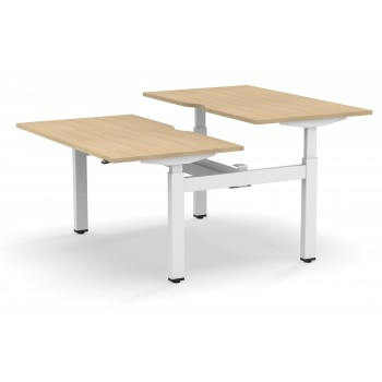 Motion Customizable Sit-Stand Office 2-Desk Bench with Metal Legs