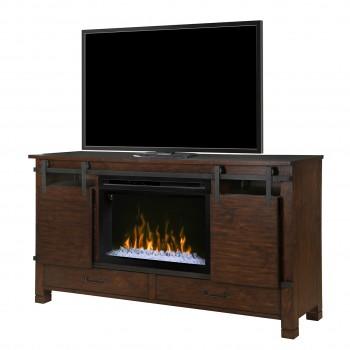 "Austin Media Console, Harper Brown Finish, Acrylic Ice 33"" Firebox"