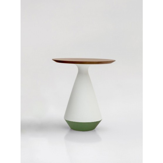Amira Side Table, Matt White and Green Sage Ceramic Base, Canaletto Walnut Wood Top photo