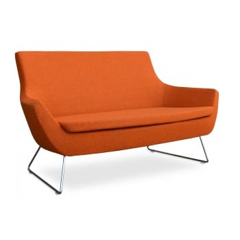 Rebecca Wire Sled Two Seater, Orange Camira Wool by SohoConcept Furniture