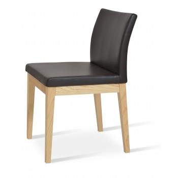 Aria Wood Dininng Chair, Natural Ash Wood, Brown Genuine Leather by SohoConcept Furniture
