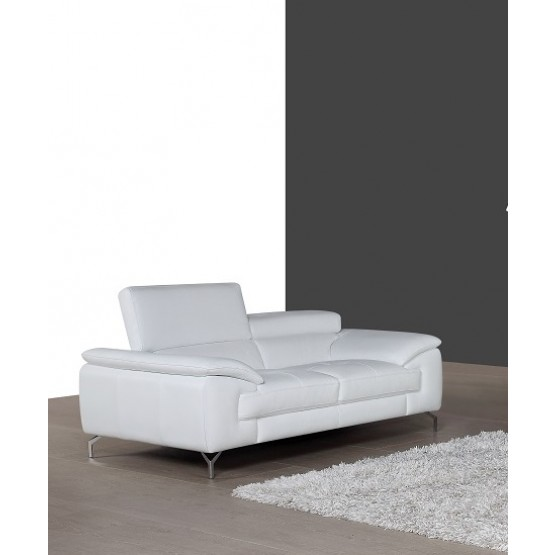A973 Italian Leather Loveseat, White photo
