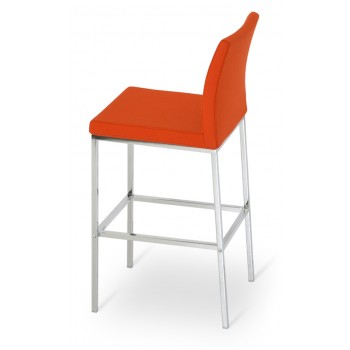 Aria Chrome Counter Stool, Orange Camira Wool by SohoConcept Furniture