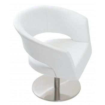 Ada Swivel Round Armchair, White PPM by SohoConcept Furniture