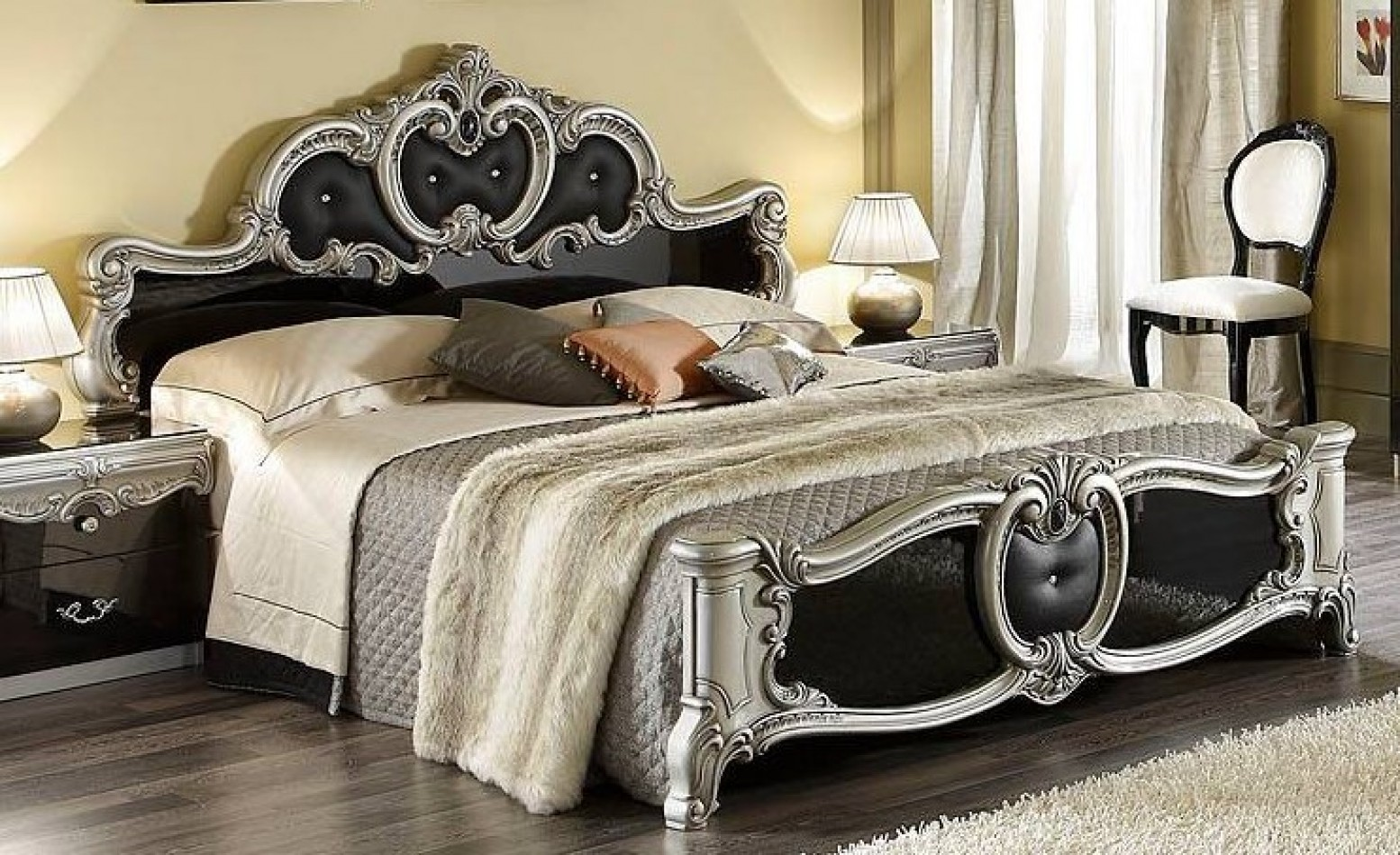 Picture of: Barocco King Size Bed Black Silver Buy Online At Best Price