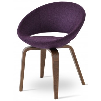 Crescent Plywood Chair, Walnut Finish, Deep Maroon Camira Wool by SohoConcept Furniture