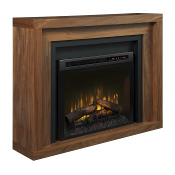 Anthony Mantel Electric Fireplace, Natural Walnut Finish, Realogs (XHD28) Firebox