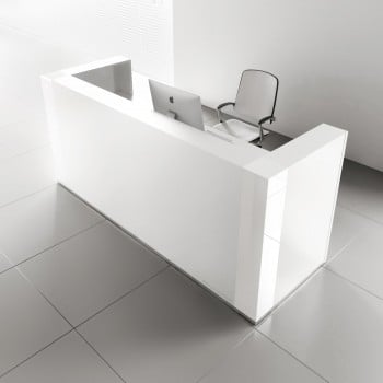 Tera TRA122 Reception Desk, White Pastel
