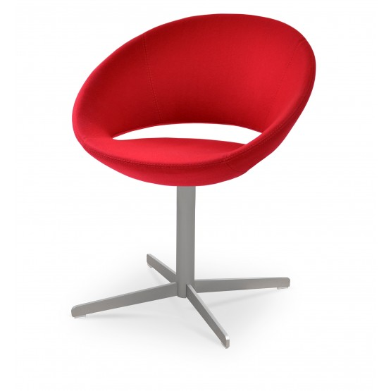 Crescent 4 Star Swivel Chair, Red Wool, Large Seat photo