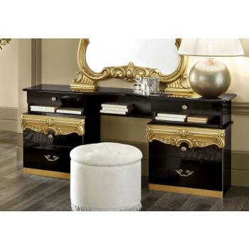 Barocco Vanity Dresser, Black + Gold